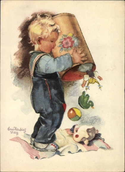 Künstler Ak Oldenburg Wittig, Lotte, Junge kippt Spielzeugtonne aus, Ball, Plüschtier