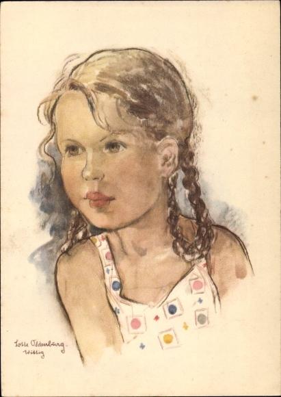Künstler Ak Oldenburg Wittig, Lotte, Portrait von einem Mädchen mit Flechtzöpfen