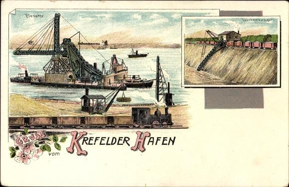 Litho Krefeld am Niederrhein, Blick auf den Hafen, Elevator, Trockenbagger, Dampflok, Kran