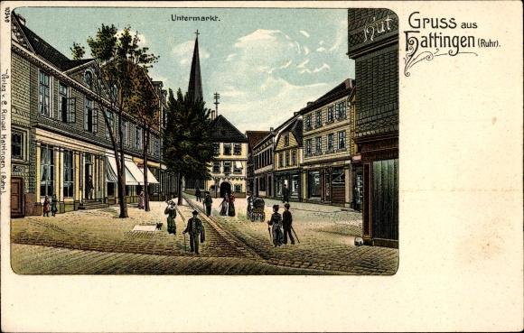 Litho Hattingen im Ennepe Ruhr Kreis, Partie am Untermarkt