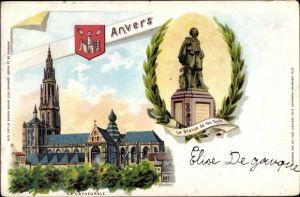 Litho Antwerpen Anvers Flandern, Cathédrale, Kathedrale, Statue de Van Dyck