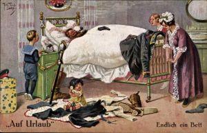 Künstler Ak Thiele, Arthur, Auf Urlaub, Endlich ein Bett, Schlafender Soldat mit Pfeife
