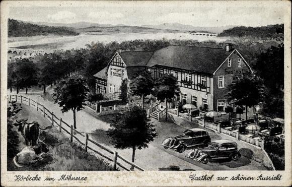 Ak Körbecke Möhnesee im Kreis Soest Nordrhein Westfalen, Gasthof zur schönen Aussicht, Bes. Sommer