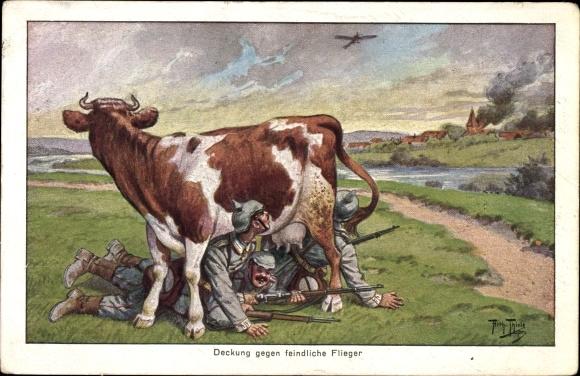 Künstler Ak Thiele, Arthur, Deckung gegen feindliche Flieger, Soldaten, Kuh