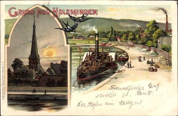 Litho Holzminden im Weserbergland, Kirche bei Nacht, Anlegestelle, Dampfer