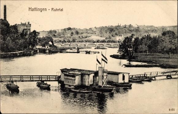 Ak Hattingen im Ennepe Ruhr Kreis, Flusspartie im Ruhrtal, Schiffsbrücke, Badeanstalt 0