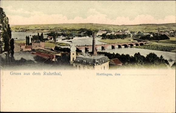 Ak Hattingen im Ennepe Ruhr Kreis, Panoramablick über das Ruhrtal, Brücke