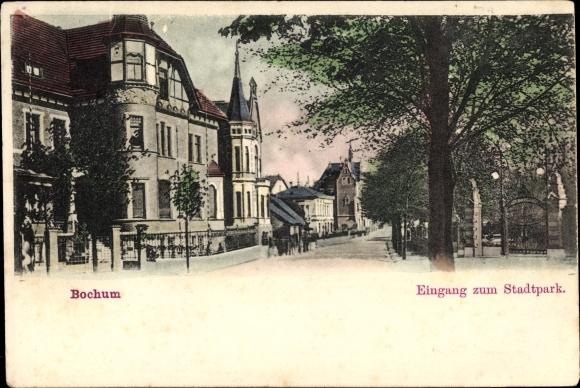 Ak Bochum im Ruhrgebiet, Eingang zum Stadtpark, Straßenpartie