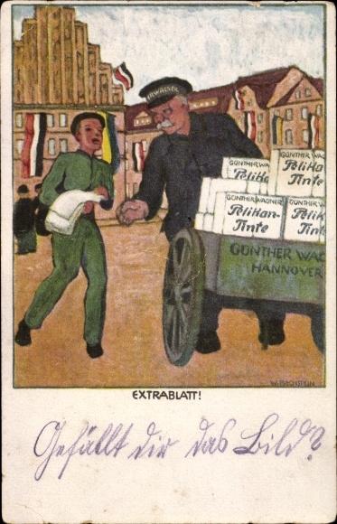 Künstler Ak Bechstein, W., Extrablatt, Pelikan Tinte, Zeitungsverkäufer, Günther Wagner Hannover
