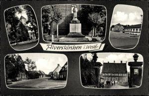Ak Alverskirchen Everswinkel in Nordrhein Westfalen, Denkmal, Kirche, Gebäude, Straßenpartie