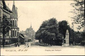 Ak Bochum im Ruhrgebiet, Eingang zum Stadtpark, Blick in die Straße am Park