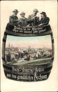 Passepartout Ak Bochum im Ruhrgebiet, Teilansicht vom Ort, Vogelschau, vier Männer im Weinfass