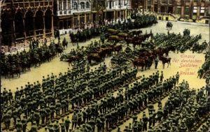 Ak Bruxelles Brüssel, Einzug der deutschen Soldaten in Brüssel, Militärkompagnien, Aufmarsch, I. WK