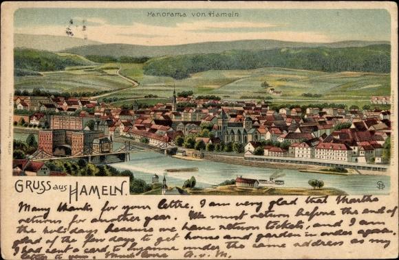 Litho Hameln in Niedersachsen, Panoramablick auf die Stadt