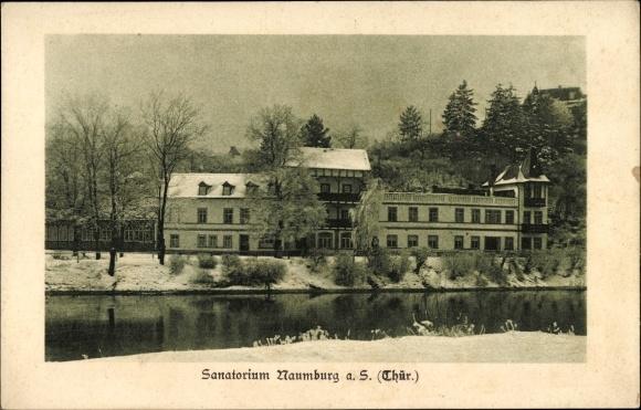 Ak Naumburg an der Saale, Flusspartie mit Blick auf das Sanatorium