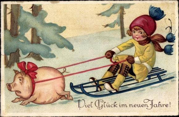 Ak Glückwunsch Neujahr, Mädchen auf einem Schlitten, von einem Schwein gezogen