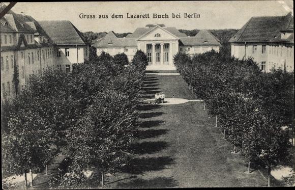 Ak Berlin Pankow Buch, Blick auf das Lazarett, Gartenanlage