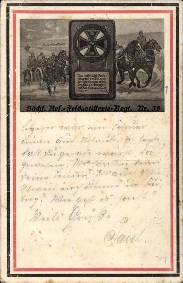 Regiment Ak Sächsisches Reserve Feldartillerie Regiment Nr. 32, Eisernes Kreuz