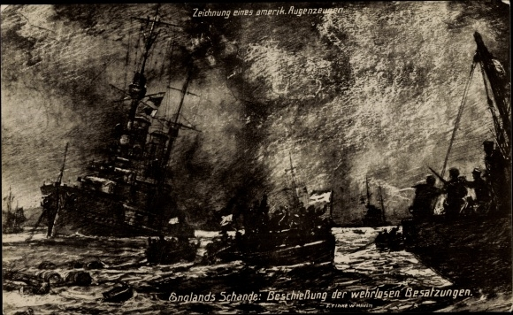 Künstler Ak Deutsche Kriegsschiffe, Englands Schande, Beschießung der wehrlosen Besatzungen