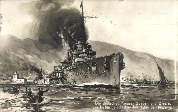 Künstler Ak Deutsches Kriegsschiff, SMS Goeben, SMS Breslau, Hafen von Messina
