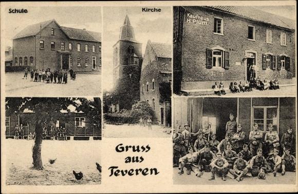 Ak Teveren Geilenkirchen in Nordrhein Westfalen, Kaufhaus H. Plum, Schule, Kirche, Soldaten