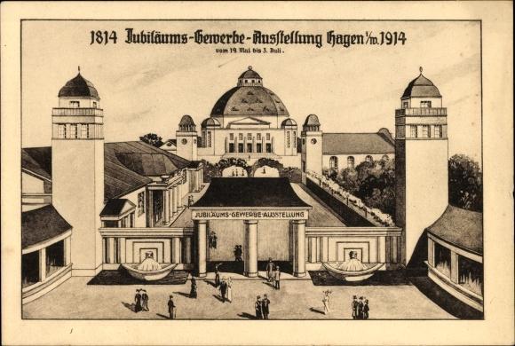 Künstler Ak Hagen in Westfalen Ruhrgebiet, Jubiläums Gewerbeausstellung 1914, Ausstellungshalle