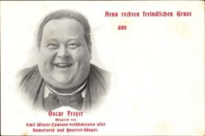 Ak Oscar Freyer, Mitglied von Emil Winter Tymians berühmtesten aller Humoristen und Quartett Sänger