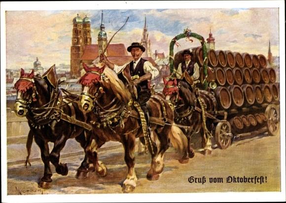 Künstler Ak München, Gruß vom Oktoberfest, Bierwagen, Frauenkirche