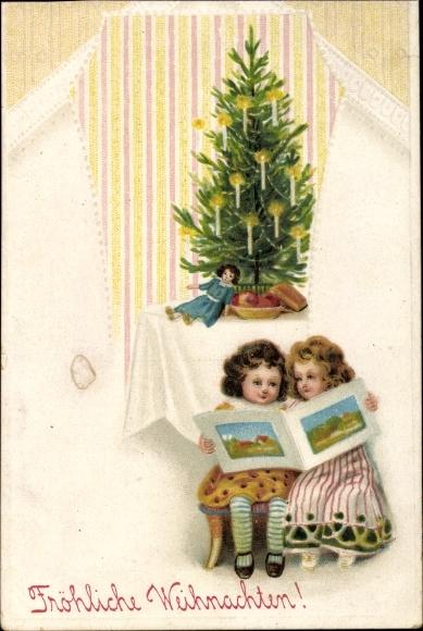 pr ge ak frohe weihnachten kinder mit bilderbuch tanne. Black Bedroom Furniture Sets. Home Design Ideas