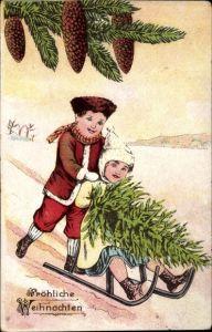 Ak Frohe Weihnachten, Schlittenfahrt, Kinder, Tannenzapfen