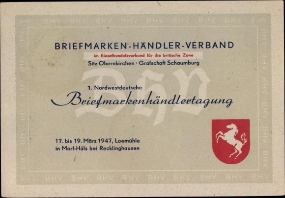 Ak Obernkirchen im Kreis Schaumburg, Briefmarkenhändlerverband, 1. Nordwestdeutsche Tagung 1947