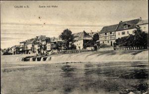 Ak Calbe an der Saale im Salzlandkreis, Saale mit Wehr, Häuser am Ufer