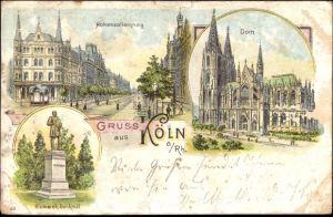 Litho Köln am Rhein, Hohenzollernring, Dom, Bismarckdenkmal