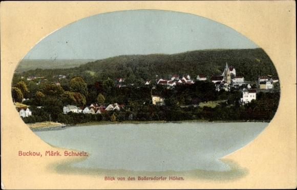 Ak Buckow in der Märkischen Schweiz, Blick von den Bollersdorfer Höhen, Totalansicht vom Ort, Fluss