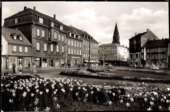 Foto Ak Castrop Rauxel im Ruhrgebiet, Teilansicht vom Ort, Möbel Breiter,  Dröghoff, Kronen Apotheke