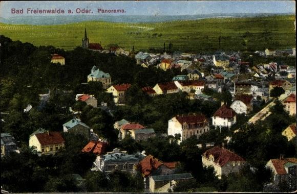 Ak Bad Freienwalde an der Oder, Panorama vom Ort, Vogelschau