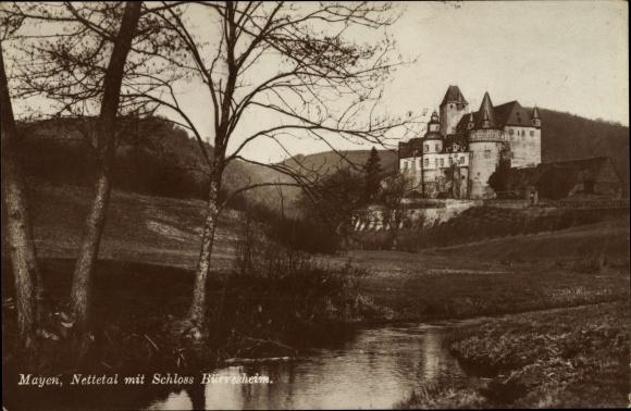Ak Mayen im Landkreis Mayen Koblenz, Partie am Nettetal mit Schloss Bürresheim