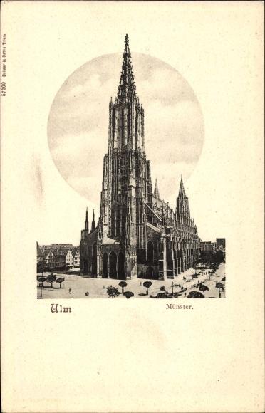 Präge Passepartout Ak Ulm an der Donau Baden Württemberg, Blick auf den Münster