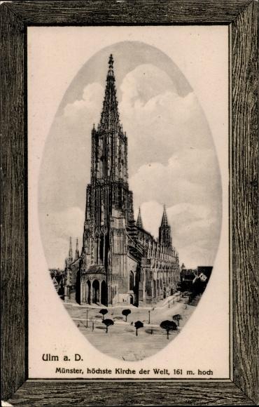Passepartout Präge Ak Ulm an der Donau Baden Württemberg, Blick auf den Münster