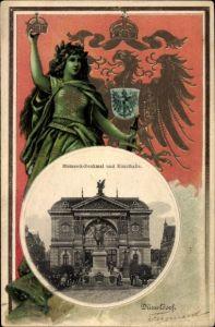 Präge Wappen Passepartout Ak Düsseldorf am Rhein, Bismarck Denkmal und Kunsthalle, Germania