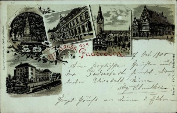 Mondschein Litho Paderborn in Nordrhein Westfalen, Post, Dom, Rathaus, Lehrerinnenseminar