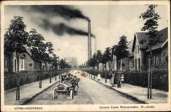 Ak Meerbeck Moers am Niederrhein, Kolonie Zeche Rheinpreußen, W Straße