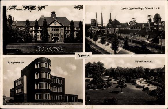 Ak Datteln im Ruhrgebiet NRW, Amtshaus, Zeche Emscher Lippe, Schacht I u. II, Gymnasium, Platz