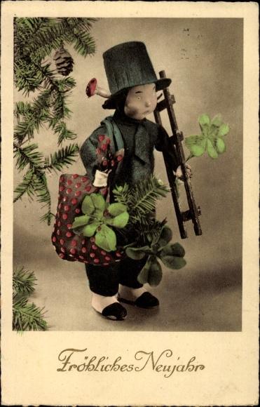 Ak Glückwunsch Neujahr, Schornsteinfeger, Kleeblätter