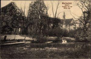 Ak Marienfeld Harsewinkel in Nordrhein Westfalen, Ansicht von der Mühle aus, Seepartie