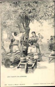 Künstler Ak Cordoba Andalusien Spanien, Una fuente, Spanierinnen am Brunnen