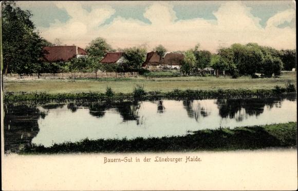 Ak Bauerngut in der Lüneburger Heide, Blick über einen Fluss