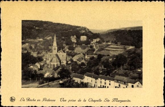 Ak La Roche en Ardenne Wallonien Luxemburg, Stadtpanorama, Glockenturm