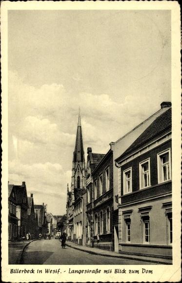Ak Billerbeck in Westfalen, Partie auf der Langestraße mit Blick zum Dom