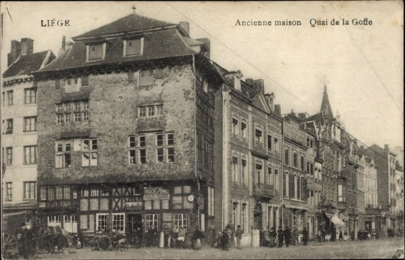 Ak Liège Lüttich Wallonien, Ancienne maison, Quai de la Goffe, Straßenpartie